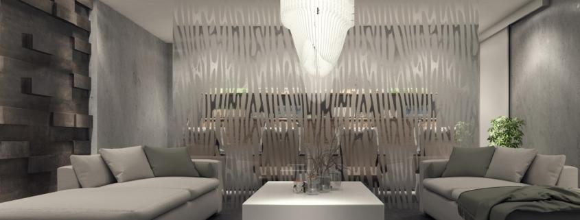 szklany panel w salonie